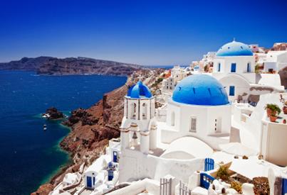Paysage Maison blanche grecque typique sur bord de mer