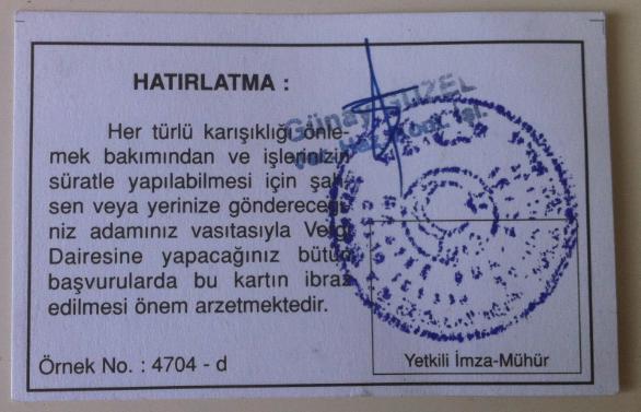 Numéro d'identification fiscale Turquie - Vergi numarasi - Tax Number (Verso)