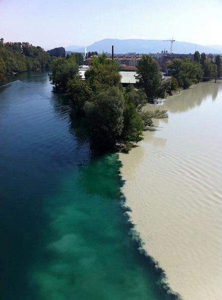 Croisement du Rhône à Genève et d'un de ces affluents