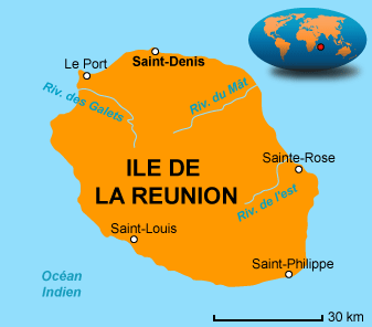 Carte de l'ile de la reunion