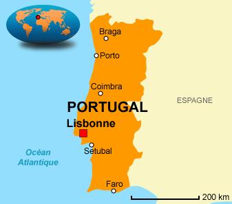 carte portugal - lisbonne lisboa