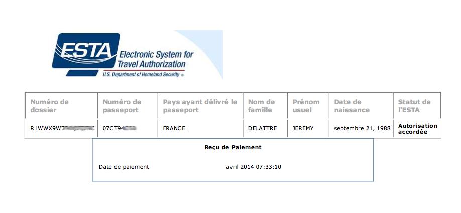Document ESTA pour voyager aux États-unis
