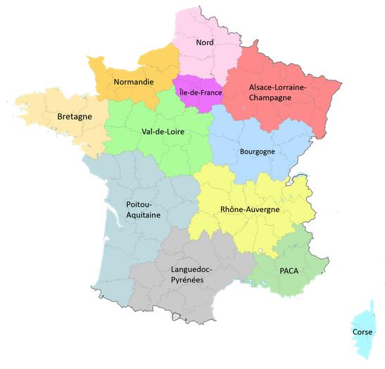 Carte regions de France