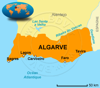 Carte Algarve - region sud protugal