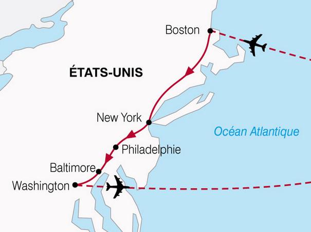 Carte Etats Unis Cote Est.Decouvrez 3 Villes A L Est Des Etats Unis