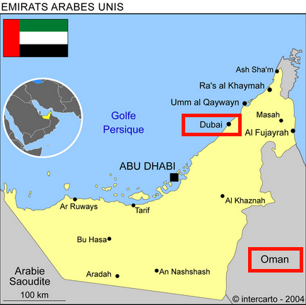 Carte Emirats Arabes Unis